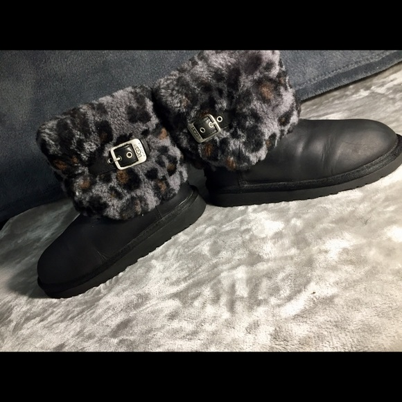 7a514d47726 UGGS ELLEE ANIMAL BLACK LEOPARD BOOTS KID'S